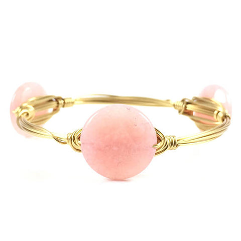 Light Pink Jade Circle Handmade Wire Wrapped Bangle