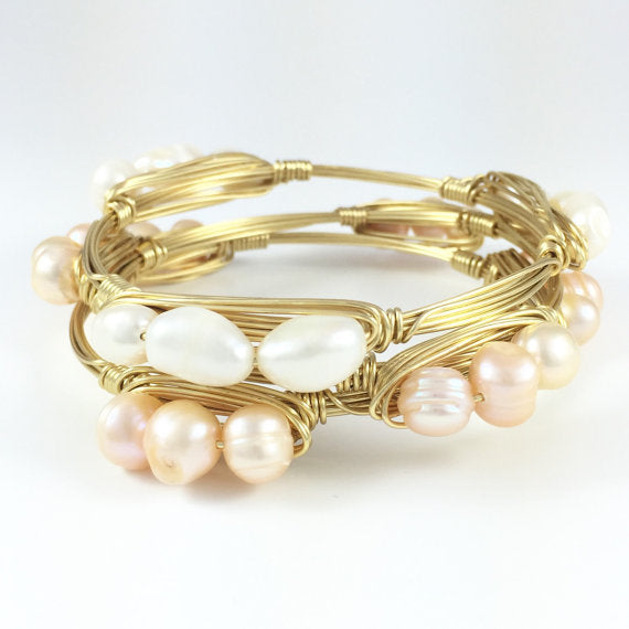 Freshwater Pearl Handmade Wire Wrapped Bangle