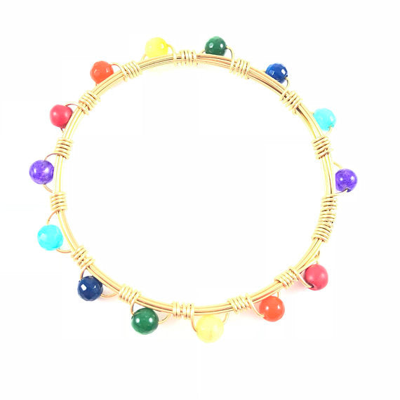 Rainbow Mini Handmade Wire Wrapped Bangle