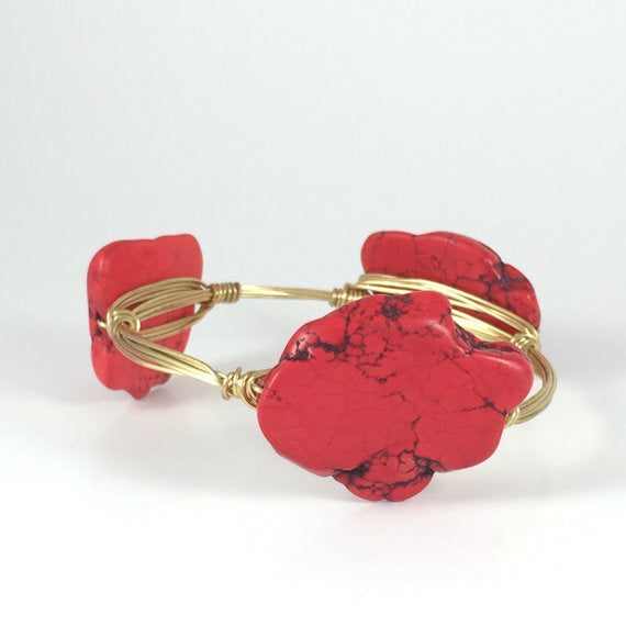 Red Slab Handmade Wire Wrapped Bangle