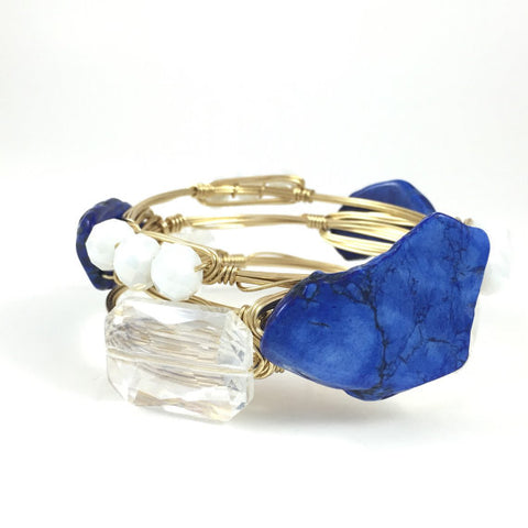Royal Blue Slab Handmade Wire Wrapped Bangle