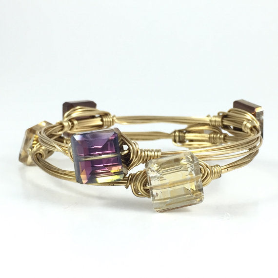Small Square Crystal Handmade Wire Wrapped Bangle