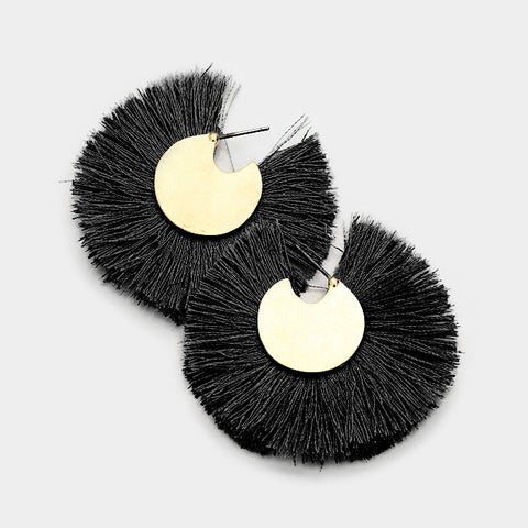 Thread Fringe Round Disc Earrings
