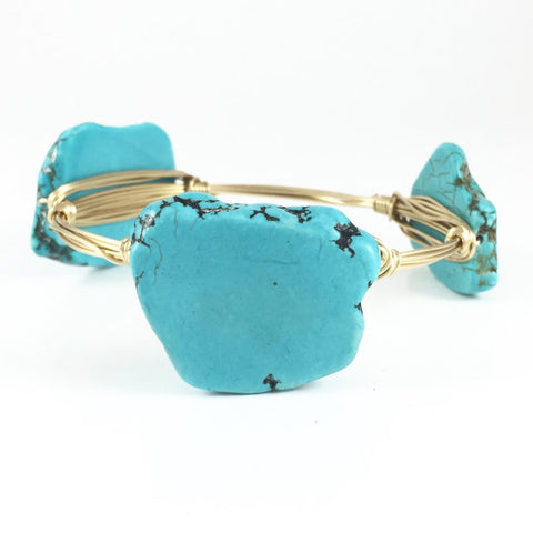 Turquoise Slab Handmade Wire Wrapped Bangle