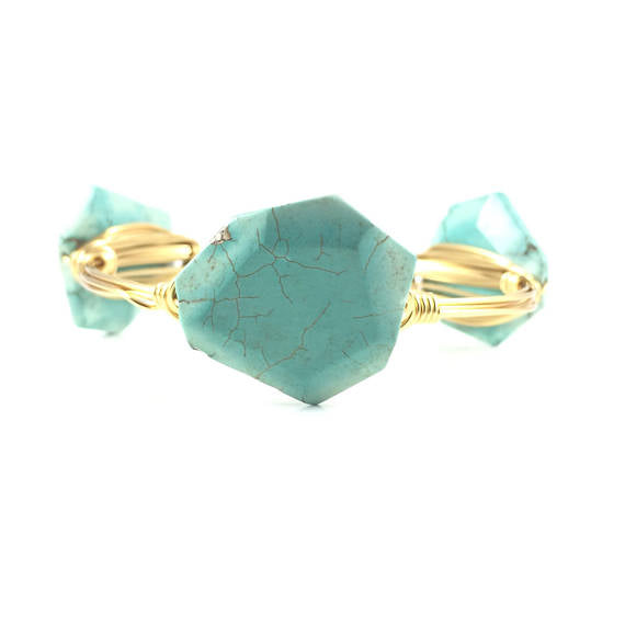 Turquoise Stone Handmade Wire Wrapped Bangle