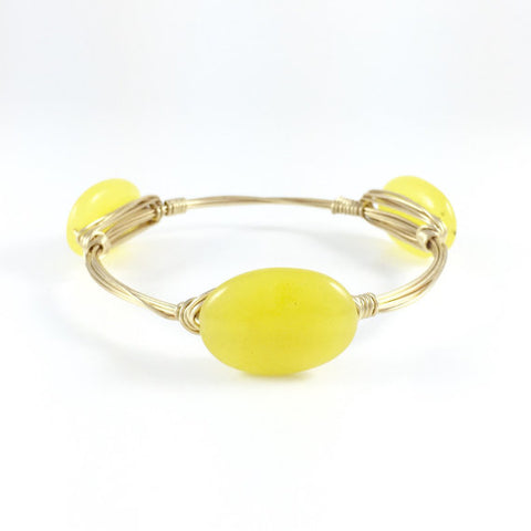 Yellow Polished Jade Oval Handmade Wire Wrapped Bangle