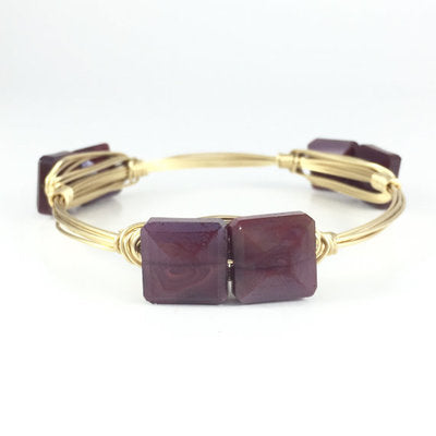 Maroon Square Handmade Wire Wrapped Bangle