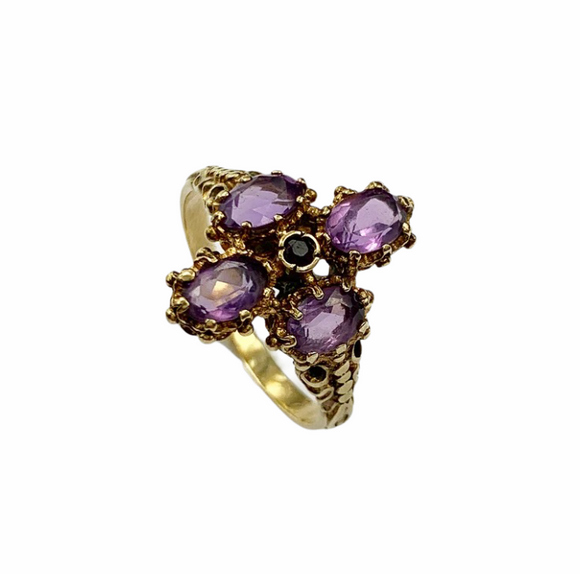 >Anna< 18ct Gold Amethyst Vintage Ring