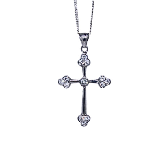 >Sylvie< Sterling Silver Synthetic Diamond Cross