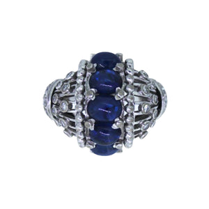 >Selina< 18ct White Gold Cabochon Sapphire Cocktail Ring