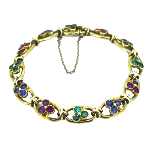 >Isabel< Victorian 15ct Gold Ememerald, Ruby & Sapphire Bracelet