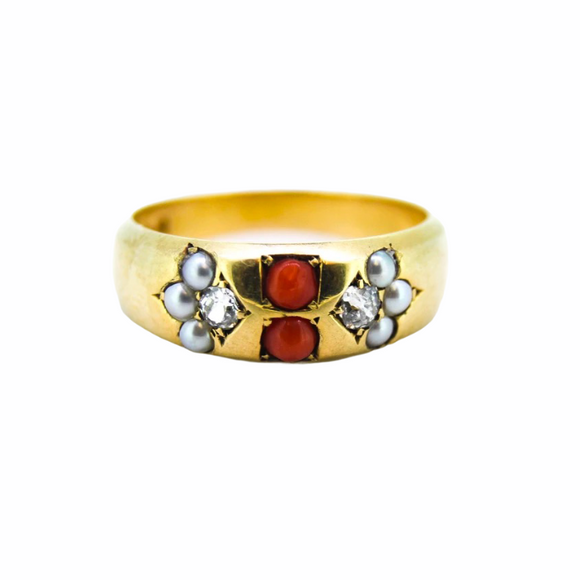 >Oraia< 18ct Gold Victorian Coral Natural Pearl Diamond Dress Ring