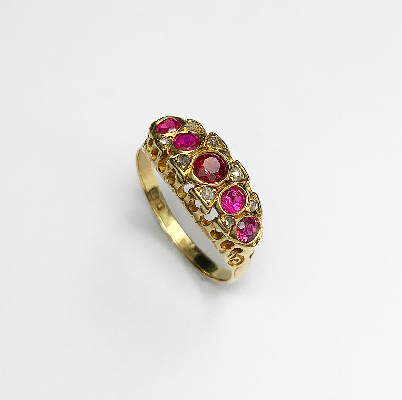 18 Ct Gold Vintage Ruby & Diamond Ring