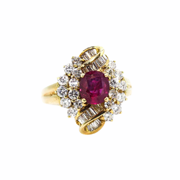 >Rosalie< 18ct Gold Ruby Diamond Cluster Ring