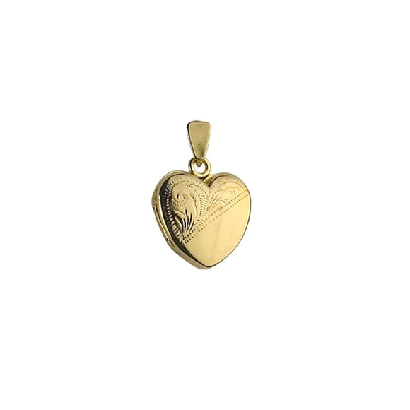 9ct Yellow Gold Hand Engraved Heart Locket