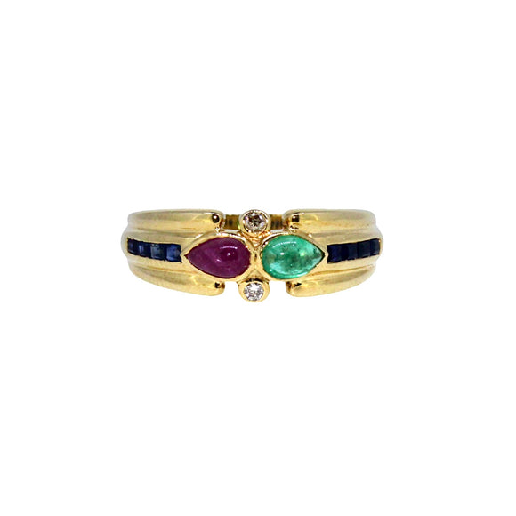 >Lula< 18ct Gold Cabochon Ruby Emerald Diamond Baguette Sapphire Ring
