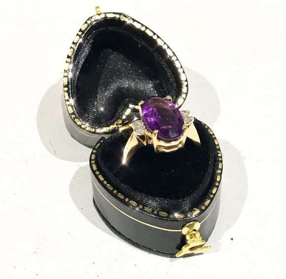9ct Gold  Amethyst and Two Diamond Set Ring