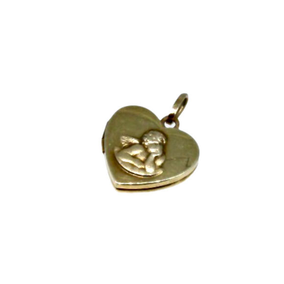 9ct Gold Vintage Cherub Heart Locket