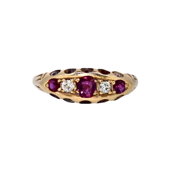 >Meet Orla< 18ct Gold Ruby and Diamond Half Hoop Ring