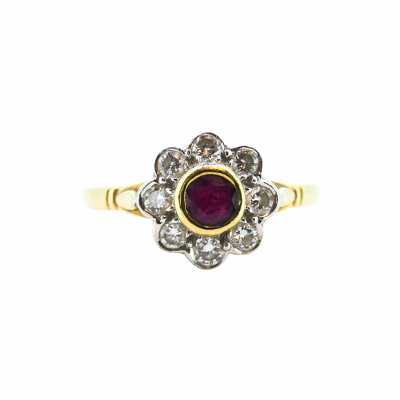 >Clara< 18ct Gold Ruby Diamond Cluster Ring