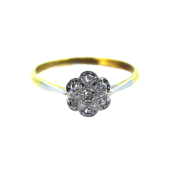 >Patience< 18ct Gold Daisy Diamond Cluster Ring
