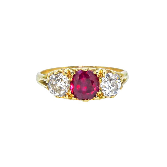 >Athena< 18ct Gold Exquisite Ruby Diamond Ring