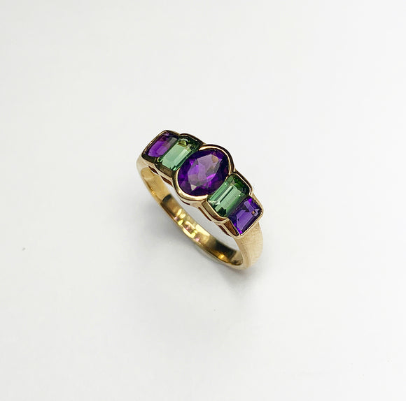 9ct Gold Amethyst and Tourmaline Vintage Ring