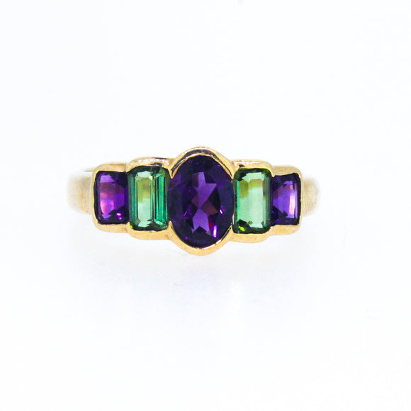 >Grace< Circa 1970s 9ct Gold Amethyst Tourmaline Ring