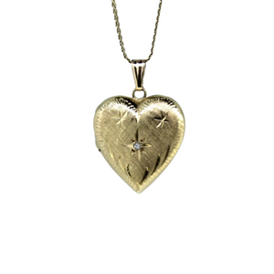 Hand engraved 9ct Gold Diamond Vintage Heart Locket
