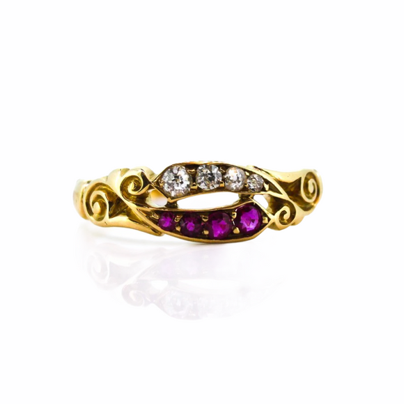 >Elsie< 18ct Gold Victorian Ruby Diamond Ring