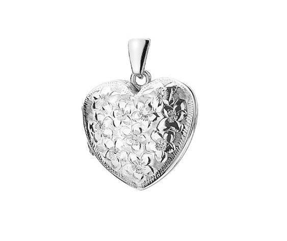 Hand Engraved Floral Heart Locket