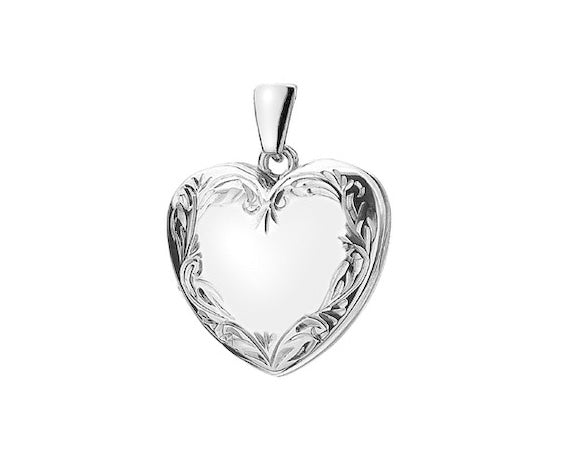 925 Sterling Silver Engraved Decorative Heart Locket