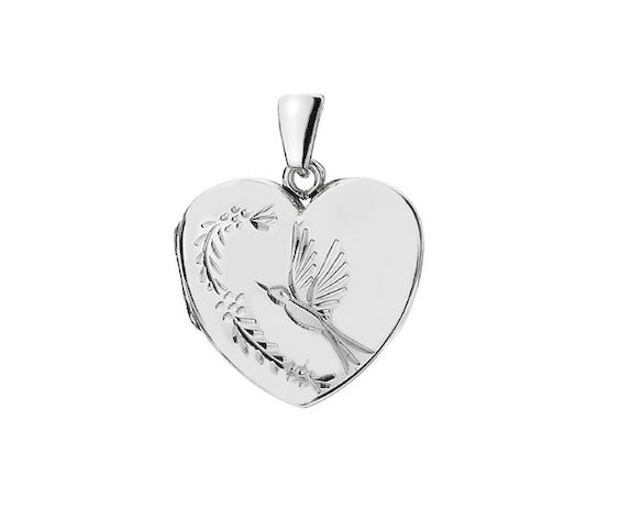 Hand Engraved Bird Heart Locket