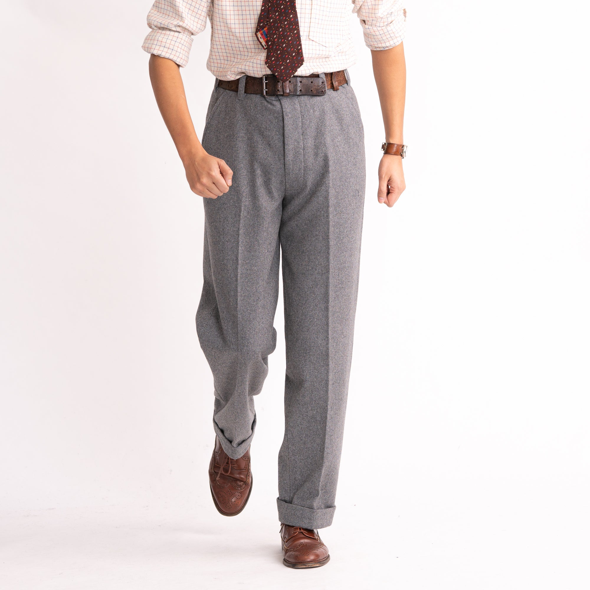 Grey Wool Straight Leg Trousers