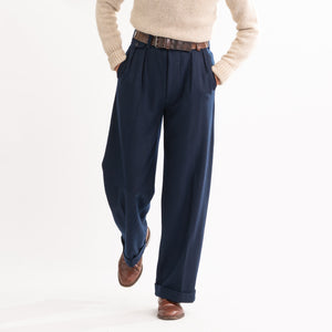 Navy Wool Ellington Trousers