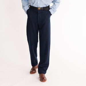 Navy Wool Straight Leg Trousers