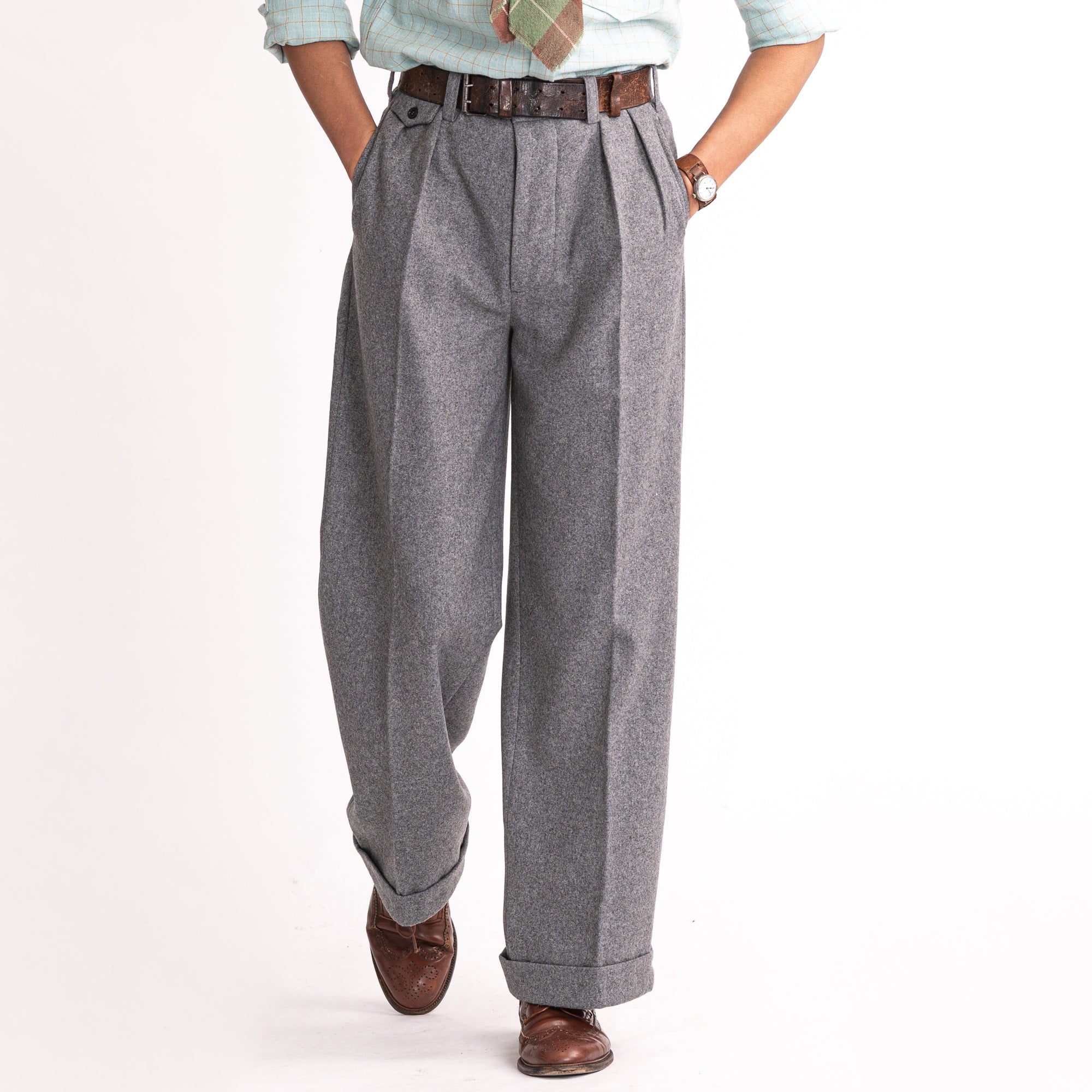 Grey Wool Ellington Trousers