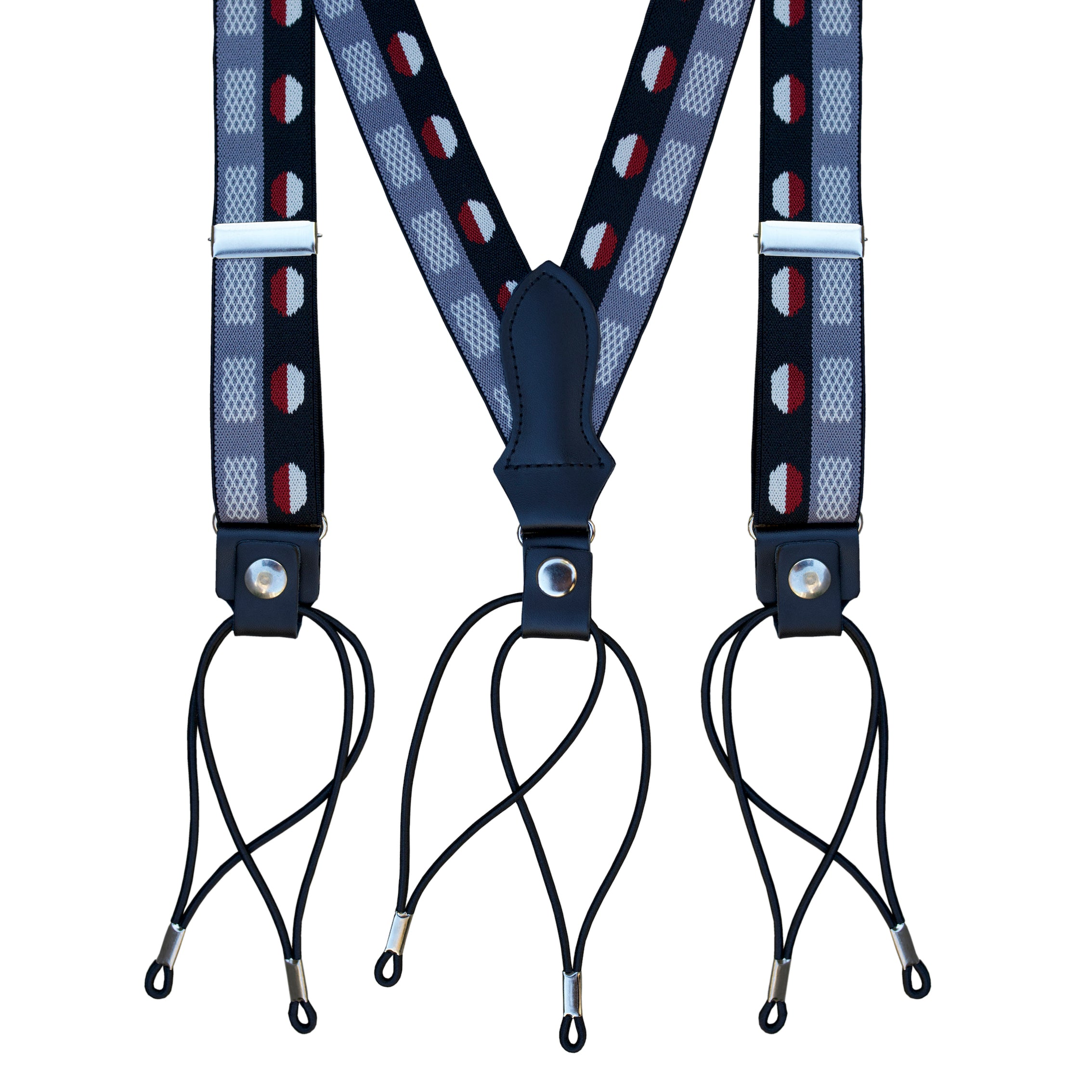Charcoal Deco Dot Suspenders
