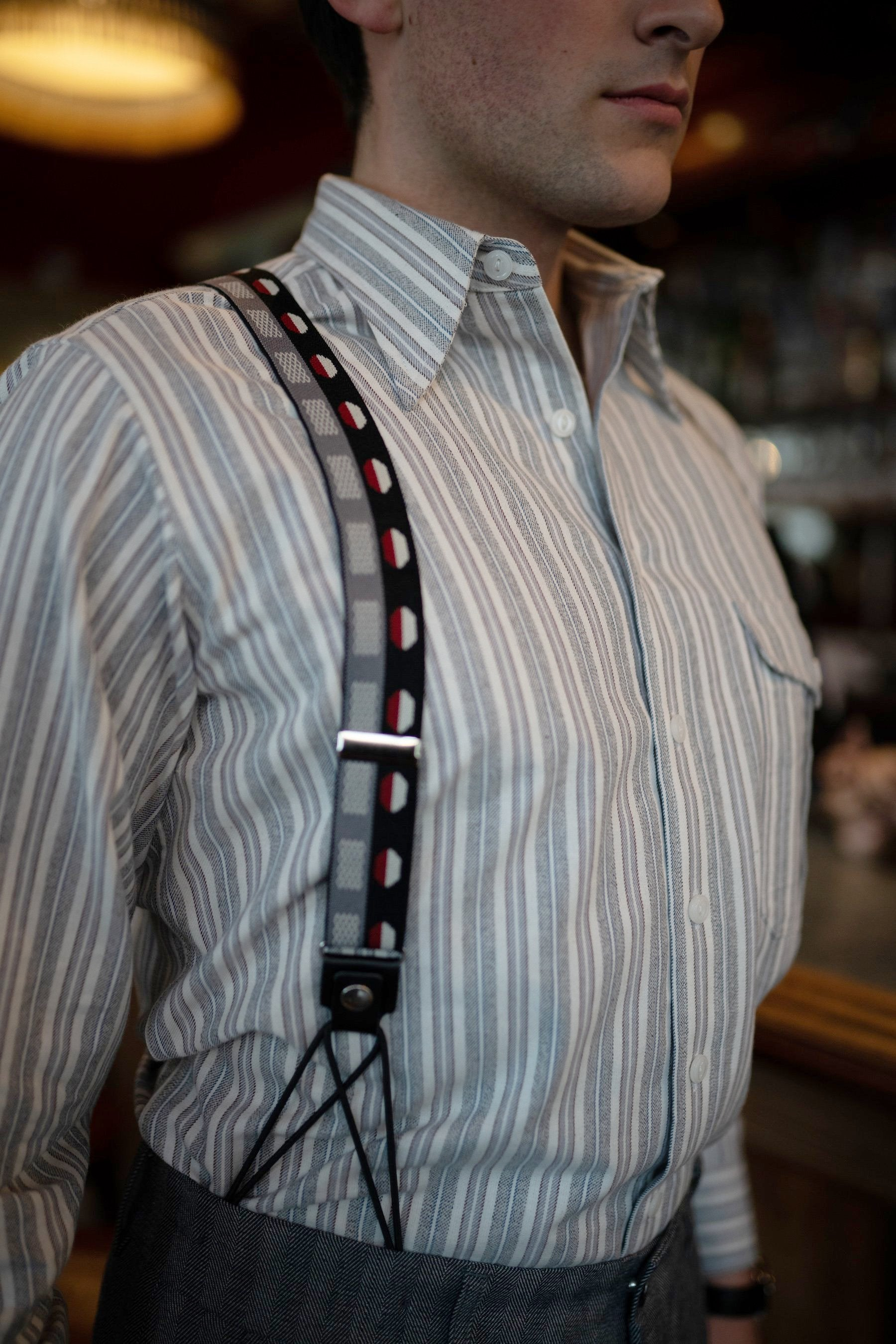 charcoal suspenders front shot on male model