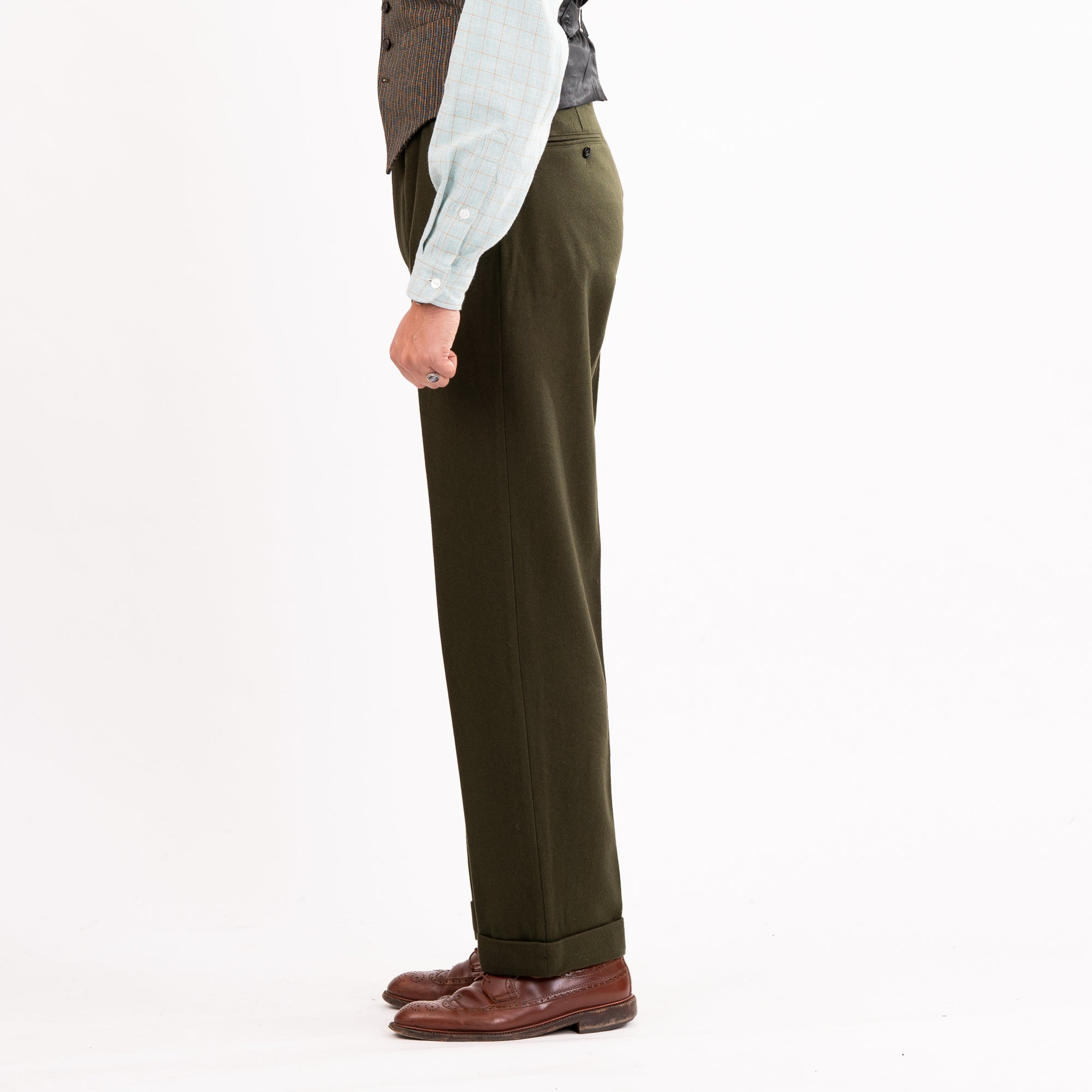 Olive Wool Straight Leg Trousers