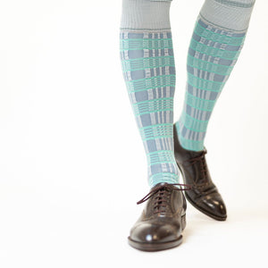 Cool Blue Hoops and Stripes Socks - 1 pair