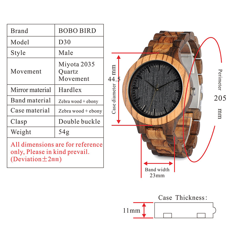 Wood Watch With Ebony Bamboo Wood - Go Shopping Best