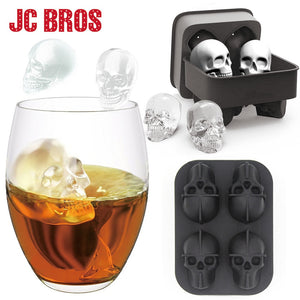 4 Grids 3D Skull Head Ice Cube Mold Halloween Skull Shaped Whisky Wine Ice Cube Tray Maker - Go Shopping Best