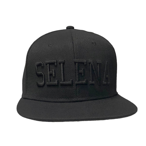 Black Snapback Cap with Black Selena Text