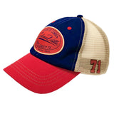 Red & Navy Blue & Tan Mesh Snapback Cap with Selenaville Patch