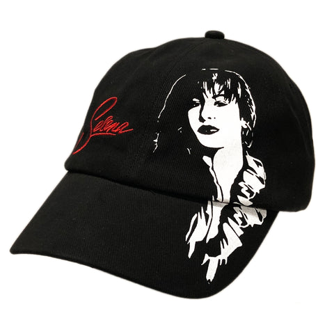 Black Snapback Cap with Selena Image
