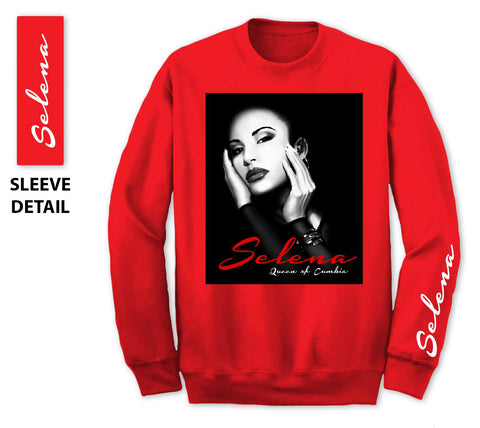 1420c16a Red Sweatshirt - Selena Face with Queen of Cumbia Text
