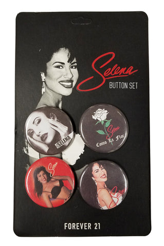New! Selena Button Pin Set (4 qty)