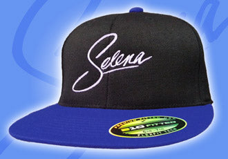 Black Snapback Cap with White Selena Logo and Blue Bill