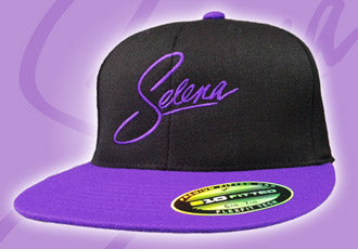 Black Snapback Cap with Purple Selena Logo and Bill